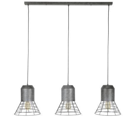 Wonenmetlef Vedhæng lys Roxy 3-flammer gammelt sølvfarvet metal 120x30x150cm