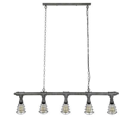 Wonenmetlef Hanging lamp board 5-hole old silver metal 127x12x150cm