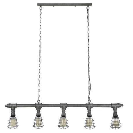 Wonenmetlef Tablero de la lámpara colgante de 5 orificios de metal plateado antiguo 127x12x150cm