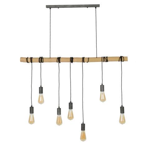 Wonenmetlef Vedhæng lys Avery 7-flammer naturlig brun brun sort bambus 120x6x150cm
