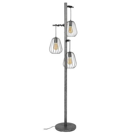 Wonenmetlef Lámpara de pie Skip de 3 luces de metal plateado antiguo 50x50x173cm