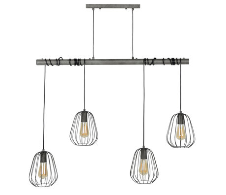 Wonenmetlef Hanging lamp container 4-light old silver metal 100x18x150cm