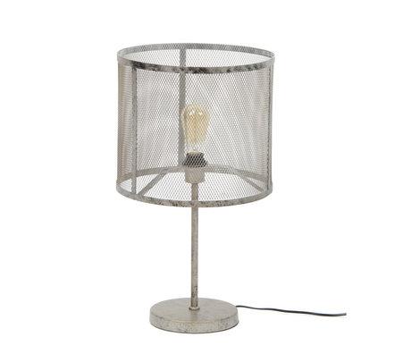 Wonenmetlef Tischlampe Gigi Gitter altes Silbermetall Ø35x60cm