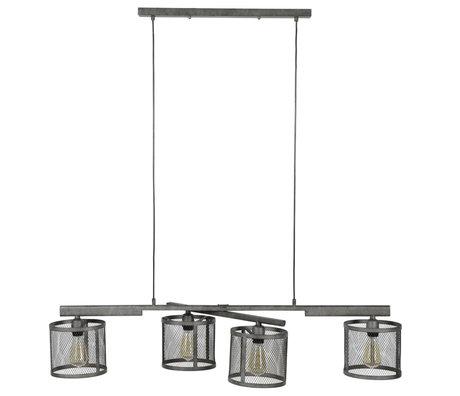 Wonenmetlef Pendelleuchte Gigi 4-Licht-Gitter altes Silbermetall 125x20x150cm