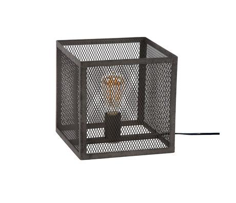 Wonenmetlef Lampe à poser Madison ancienne en métal argenté 25x25x25x25cm