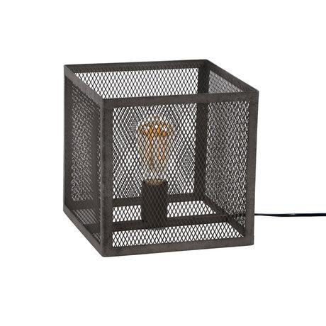 Wonenmetlef Lámpara de mesa Madison metal plateado antiguo 25x25x25x25cm
