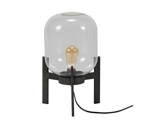mister FRENKIE Lampada da tavolo Dean argento vecchio vetro acciaio Ø28x44cm