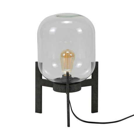 mister FRENKIE Table lamp Dean old silver glass steel Ø28x44cm