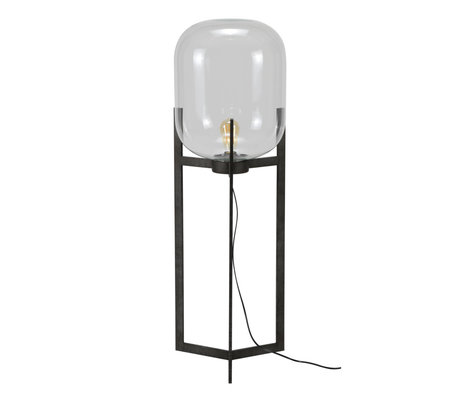 mister FRENKIE Lampada da terra Dean vecchio argento vetro acciaio Ø38x110cm