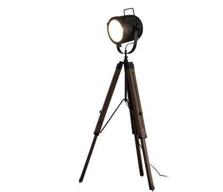 Wonenmetlef Lampadaire Logan Vintage bois noir métal Ø67x135cm