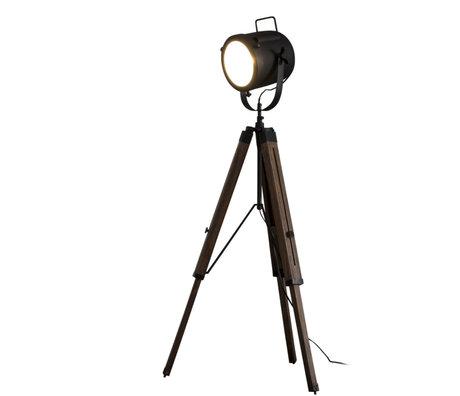 Wonenmetlef Lámpara de pie Logan Vintage metal madera negro Ø67x135cm