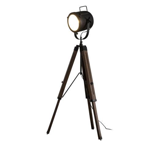 Wonenmetlef Gulvlampe Logan Vintage sort træmetal Ø67x135cm