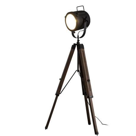 Wonenmetlef Lampada da terra Logan Vintage in metallo nero legno Ø67x135cm