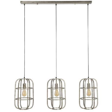 Wonenmetlef Colgante luz escotilla 3 llamas plata antigua acero 115x27x150cm