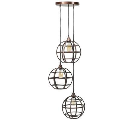 Wonenmetlef Pendant lamp Boaz 3-flame antique copper metal Ø50x150cm