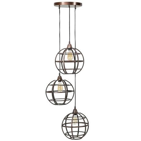Wonenmetlef Lampe à suspension Boaz à 3 flammes en cuivre antique Ø50x150cm