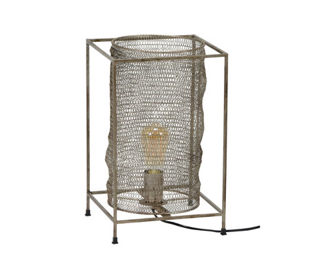 Wonenmetlef Table lamp Liz rectangular antique silver metal 25x25x40cm
