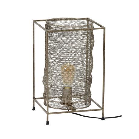 Wonenmetlef Lampe à poser Liz rectangulaire en métal argenté antique 25x25x40cm