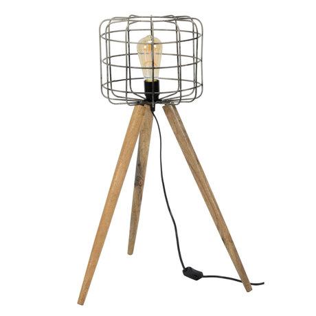 Wonenmetlef Lámpara de pie Ace gris marrón marrón madera metal Ø44x68cm