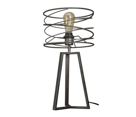 Wonenmetlef Lámpara de mesa Memphis antracita metal gris Ø27x50cm
