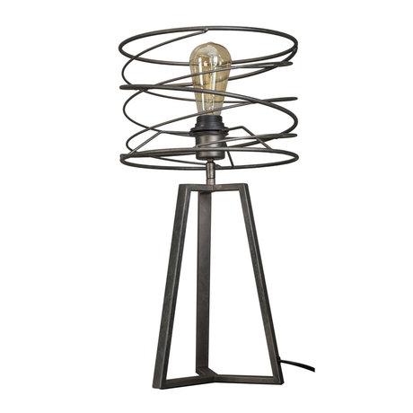 Wonenmetlef Table lamp Memphis anthracite gray metal Ø27x50cm