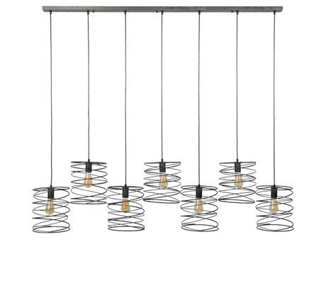 Wonenmetlef Colgante Memphis de 7 luces, color antracita claro, 140x20x150cm