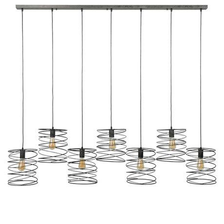 Wonenmetlef Luminaire suspendu Memphis à 7 ampoules en métal anthracite 140x20x150cm
