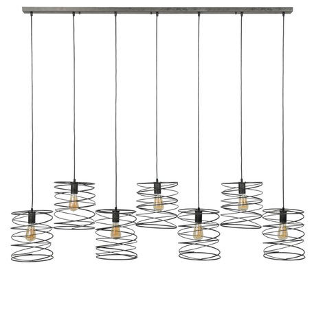 Wonenmetlef Vedhæng lys Memphis 7-lys lys antracitfarvet metal 140x20x150cm