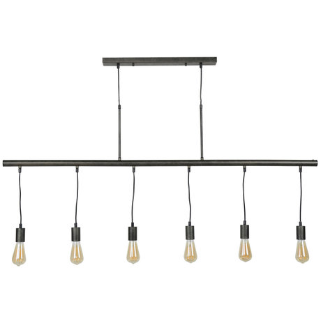 Wonenmetlef Pendant light Jules 6-flames anthracite-colored metal 150x8x150cm