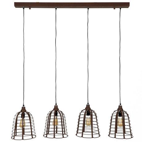 Wonenmetlef Vedhæng lys Nouk 4-flammer lys rustbrunt metal 117x26x150cm
