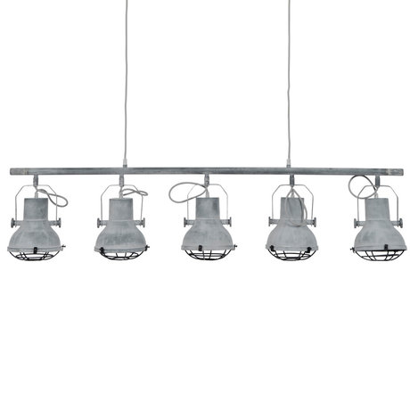 Wonenmetlef Colgante de luz Pax 5-llamas gris metal concreto 120x16x150cm
