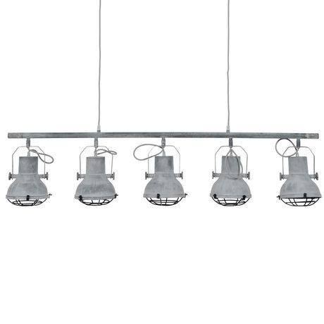 Wonenmetlef Luminaire suspendu Pax 5 flammes béton gris métal 120x16x150cm