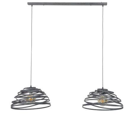 Wonenmetlef Suspension Babet 2 lumières lumière gris acier 140x50x150cm