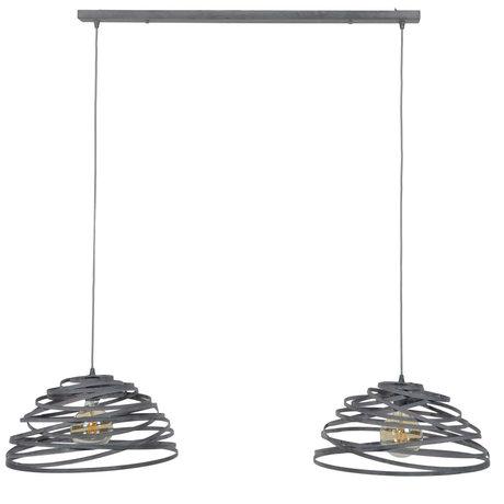 Wonenmetlef Colgante ligero Babet 2-luz acero gris claro 140x50x150cm