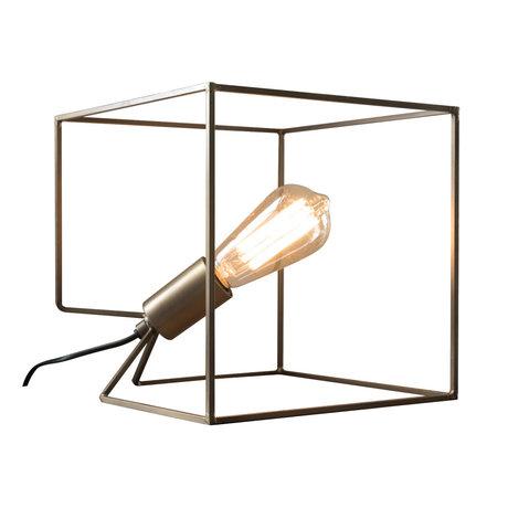Wonenmetlef Lámpara de mesa Jen acero bronce antiguo 25x25x25x25cm