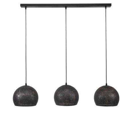 Wonenmetlef Lampada a sospensione Lauren palla 3 fiamme metallo nero-marrone chiaro 110x25x150cm