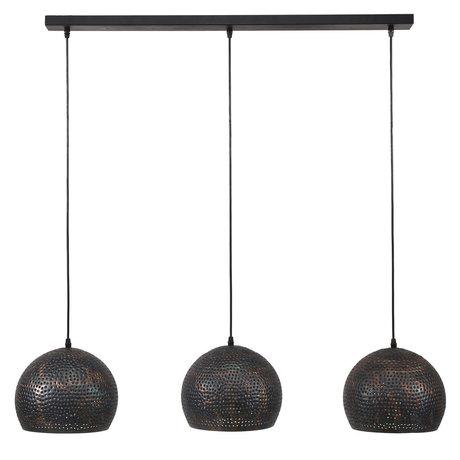 Wonenmetlef Luminaire suspendu Lauren ball lumière de 3 flammes métal noir-brun 110x25x150cm