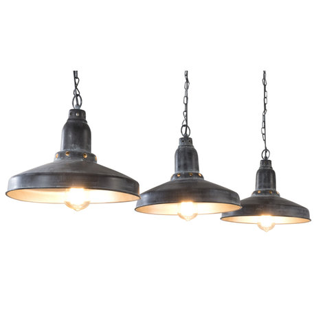 Wonenmetlef Pendant light Maddox 3-light light gray dark gray metal 140x32x120cm