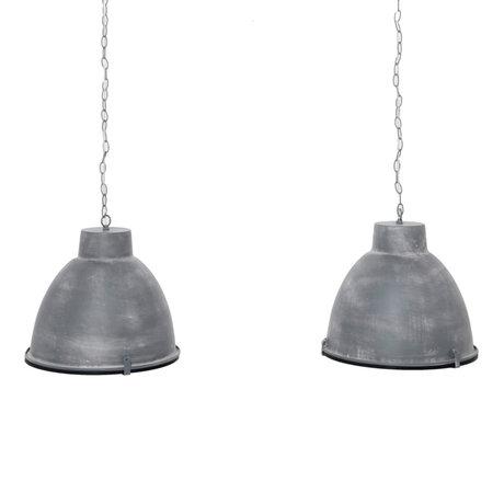 Wonenmetlef Lampada a sospensione Sis 2 fiamme vetro riflettente acciaio grigio chiaro 125x43x150cm