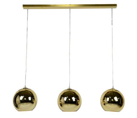 Wonenmetlef Colgante de luz Phyllon 3 llamas de cristal de oro 110x25x150cm