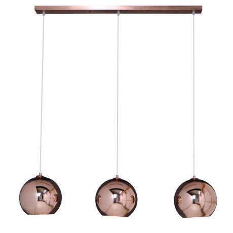Wonenmetlef Lámpara de suspensión Phyllon de vidrio de cobre de 3 luces, 110x25x150cm
