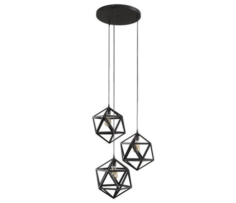 Wonenmetlef Pendant light Daaf 3 flames black metal Ø65x150cm
