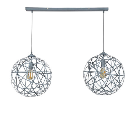 Wonenmetlef Pendant lamp Enzo 2-flames gray steel 110x40x150cm