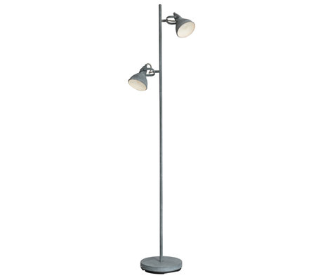Wonenmetlef Floor lamp Kobe 2-light concrete gray steel 33x23x143cm