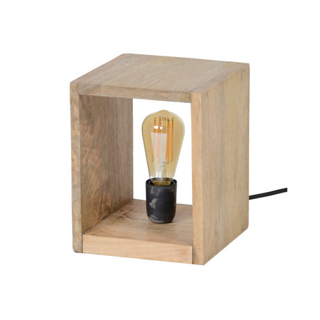 Wonenmetlef Table lamp Izzy natural brown wood 20x20x25cm
