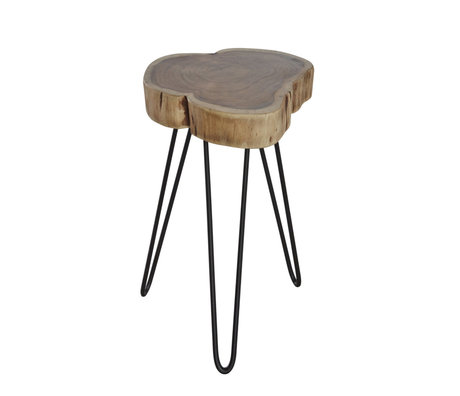 Wonenmetlef Side table Sien natural brown black wood metal Ø32x45cm