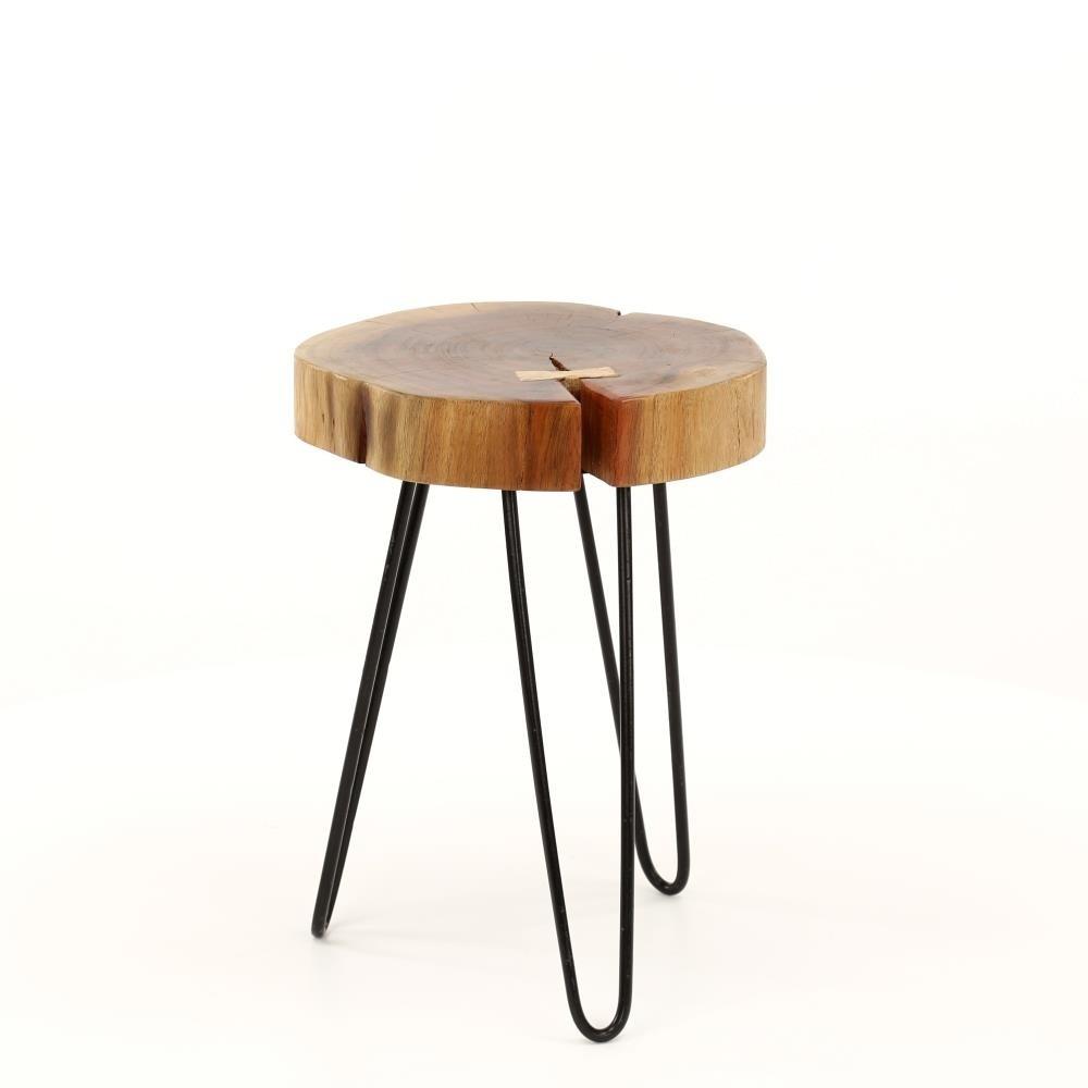 Wonenmetlef Table D Appoint Sien Naturel Brun Bois Noir Metal O32x45cm
