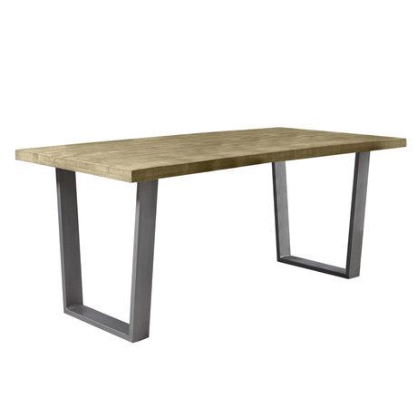 Wonenmetlef Table à manger Jace naturel marron noir bois acier 180x90x76cm