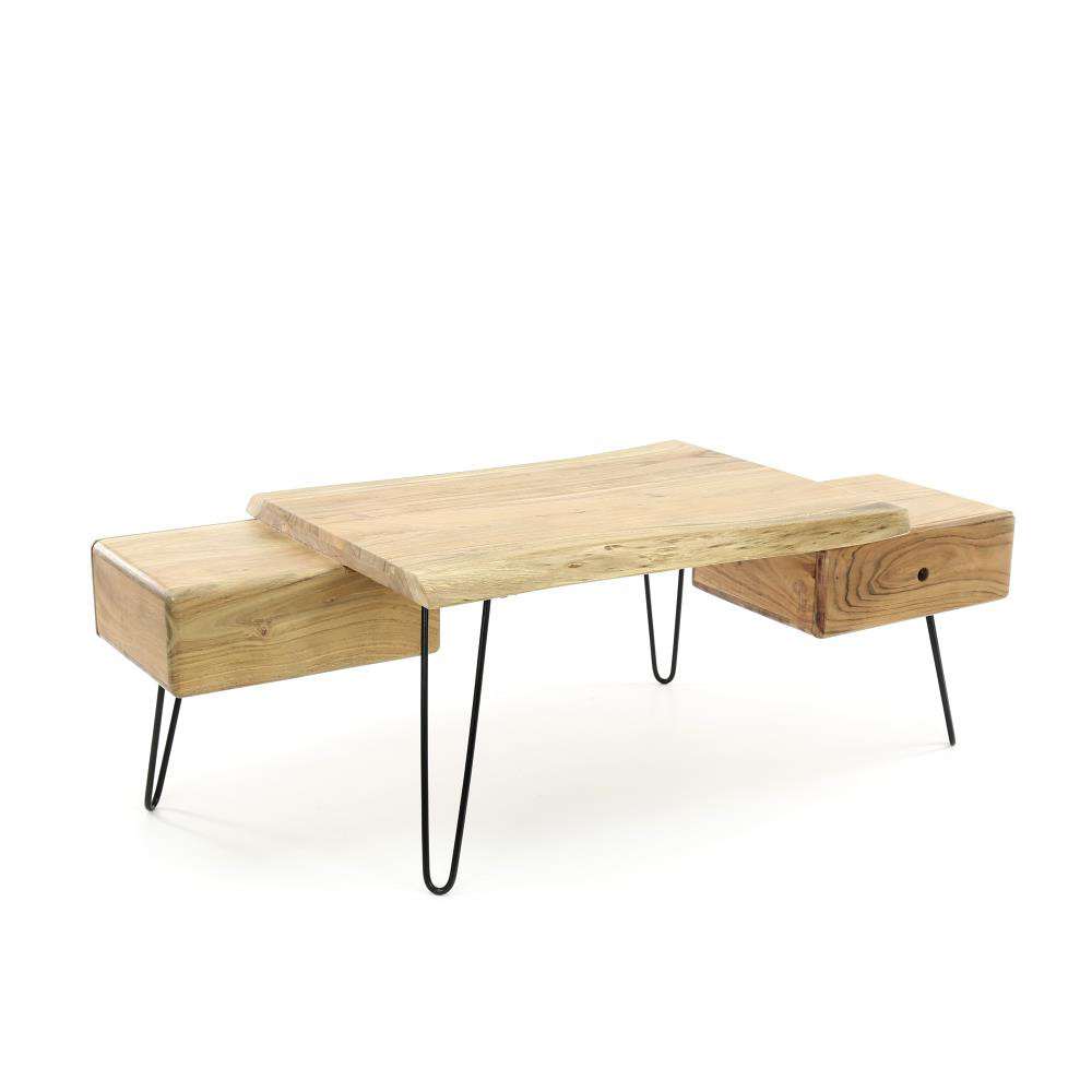 - Wonenmetlef Coffee Table Sam Brown Wood Metal 130x60x45cm - Lefliving.com