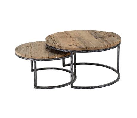 Wonenmetlef Sofabord Bo robust brun sort træmetal sæt med 2 stk